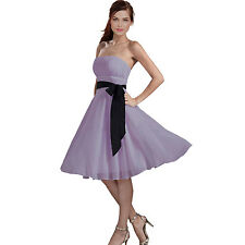 Sexy A-Line Strapless Chiffon Formal Bridesmaid Cocktail Party Dress Lilac