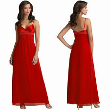 Beaded Long Chiffon Formal Evening Gown Bridesmaid Maxi Dress Red
