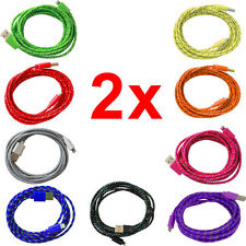 2X 8 Pin Braided USB Charger Sync Data Cable Cord For iPhone 5 5S 5C iOS 7
