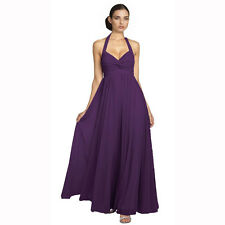 Beaded Halter Neck Full Length Formal Evening Gown Bridesmaid Dress Deep Purple