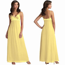 Beaded Long Chiffon Formal Evening Gown Bridesmaid Maxi Dress Light Yellow