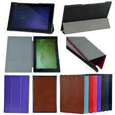 For Sony Xperia Z2 Tablet Stand PU Leather Ultra-Slim Tri-fold Folio Case Cover