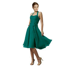 Halterneck Knee A-line Cocktail Party Bridesmaid Evening Dress co0933 Teal
