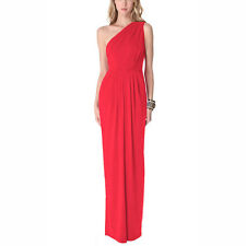 Long Draped One Shoulder Jersey Formal Gown Evening Dress Coral Red
