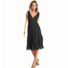 New Exquisite V-Neck Cocktail Evening Party Chiffon Day Dress Black