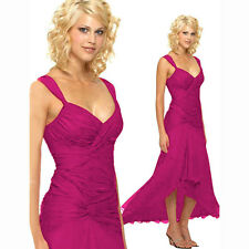 Stylish Floating High-Low Formal Cocktail Evening Party Bridesmaid Dress Magenta