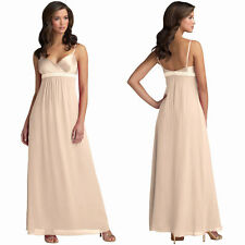 Beaded Long Chiffon Formal Evening Gown Bridesmaid Maxi Dress Champagne
