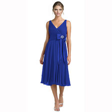 Stunning Rhinestone Chiffon Cocktail Party Bridesmaid Dress Evening Wear Blue