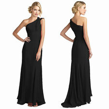 One Shoulder Fitted Body-Wrap Chiffon Formal Ball Gown Evening Dress Black