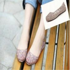 summer Sandals breathable crystal plastic jelly cutout flat heel shoes female