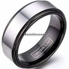8mm Black & Silver Two Tone Tungsten Carbide Ring High Polished Wedding Band