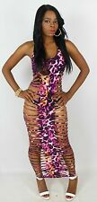 Pink Purple Orange Leopard Fish Bone Laser Cut Out Sleeveless Maxi Club Dress