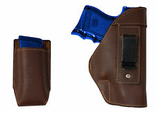 NEW Barsony Brown Leather IWB Gun Holster + Mag Pouch CZ, EAA Compact 9mm 40 45