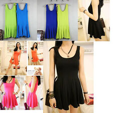 Hot Nice New Lady's Candy Pleated Sleeveless Vest Dress Traps Bottoming