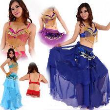 Hot New Belly Dance Costume 2 Pics Bra&Skirt 10 colours Girl Dancing Clothes2014