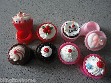 3D NOVELTY cup cake contact lens case - strawberry, chocolate, cream or berries!