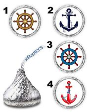 108 NAUTICAL ANCHOR SHIP WHEEL BABY SHOWER  WEDDING FAVORS LABELS STICKERS