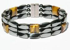 Mens Womens Magnetic Hematite Bracelet / Anklet TIGER EYE Super Strong 3 ROWS