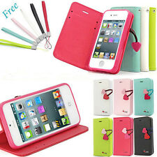 Cherry Leather Flip Wallet Case Cover Stand For Apple iphone 4 4S 5G 5S Hot sale