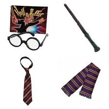 HARRY POTTER WIZARD FANCY DRESS SCHOOLBOY SCARF GLASSES TIE WAND BOOK WEEK