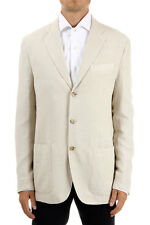 POLO BY RALPH LAUREN uomo giacca TWEED cotone seta lino beige made in italy