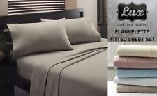 LUX Real Egyptian Cotton Flannelette Sheet Set Single Size Bed Color Choices