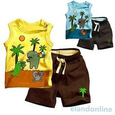 Tollder Kid Boy Sleeveless Top T-shirt Short Pants Set 2 Pcs Outfit Clothes 0-3Y