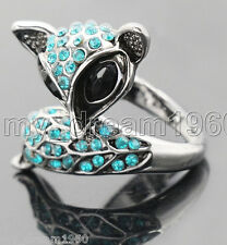 New Crystal Rhinestone Silver Tone Foxy Fox Custom Ring #5.5 7 8.5 9.5 10