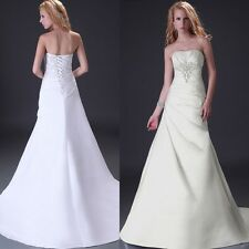 Elegant New Wedding Dress Bridal Prom Gown Stock Size 6 8 10 12 14 16 18+CHEAP