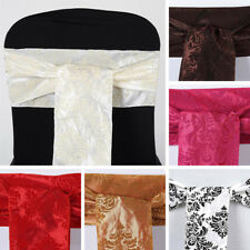 100 pcs CHAIR SASHES FLOCKING DAMASK Ties Bows Wedding Party Decorations SALE