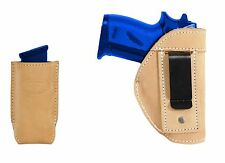 New Barsony Tan Leather IWB Holster + Mag Pouch Colt 380 Ultra Compact 9mm 40 45