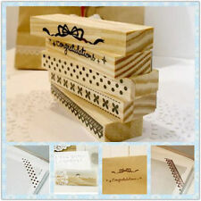 5 Model DIY Stamps Korean Rectangle classical Lace series Wooden Rubber Stamps