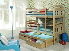 3ft Children wooden BUNK BED - free mattresses , trundle bed , natural pine