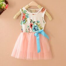 New Child Clothes Kid Baby Girls Bowknot Tulle Floral Princess TuTu Dress Skirts