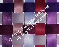 2 METRES Berisfords Double Satin Ribbon 9 PURPLE SHADES - Choose Width + Shade