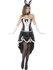 Womens Sexy Black Burlesque Bunny Costume Fancy Dress Cap Corset Skirt Hen Night