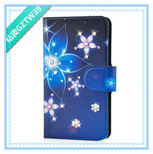 2014 New diamond Colourful Dark blue flower PU LEATHER FLIP Case COVER for HTC