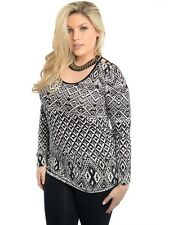 Plus size ladies long sleeve Top Aztec black and white print Rayon lightweight