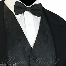 Black XS to 6XL Paisley Tuxedo Suit Dress Vest Waistcoat & Bow tie Wedding Prom