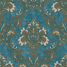 Luxury Gorgeous 5 Color Blue/Coffee/Grey Heavy Embossed Classic Damask Wallpaper