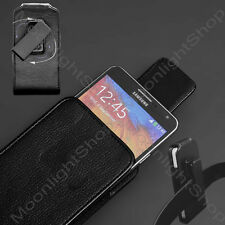 BLACK SAMSUNG GALAXY NOTE 2,3,4 VERTICAL PU LEATHER BELT CLIP HOLSTER POUCH CASE