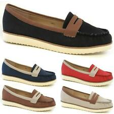 Ladies Womens Faux Leather Flat Casual Slip On Moccasin Loafers Driving Shoes