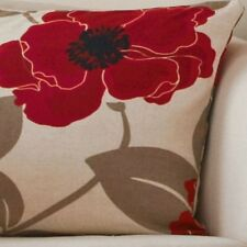 Hannah Red Poppy Pencil Pleat Lined Curtains + Cushion Covers & Ties Available