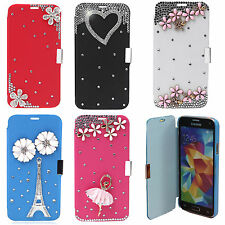 3D BLING LUXURY PU LEATHER FLIP CASE COVER FOR SUMSUNG GALAXY S5 i9600 & S3 MINI