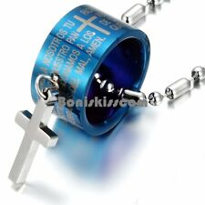 Stainless Steel Bible Engraved Cylinder w Cross Pendant Necklace Black / Blue