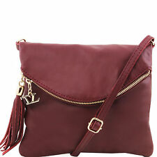 TUSCANY LEATHER shoulder bag for woman with tassel golden hardware made in Italy
