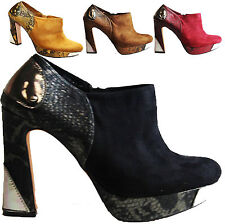 WOMENS LADIES FAUX SUEDE HIGH BLOCK HEEL PLATFORM COURT SHOES ZIP CHELSEA BOOTS
