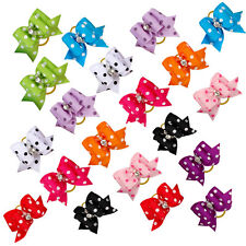50/100pcs Diamond Dot Print Pet Cat Dog Hair Bows Grooming Accessories Wholesale
