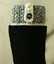 Handmade Crochet Dark Gray Marble/Wheat Boot Cuffs Boot Tops Leg Warmers S,M&L