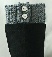 Handmade Crochet Dark Gray Boot Cuffs Boot Toppers Leg Warmers S,M&L